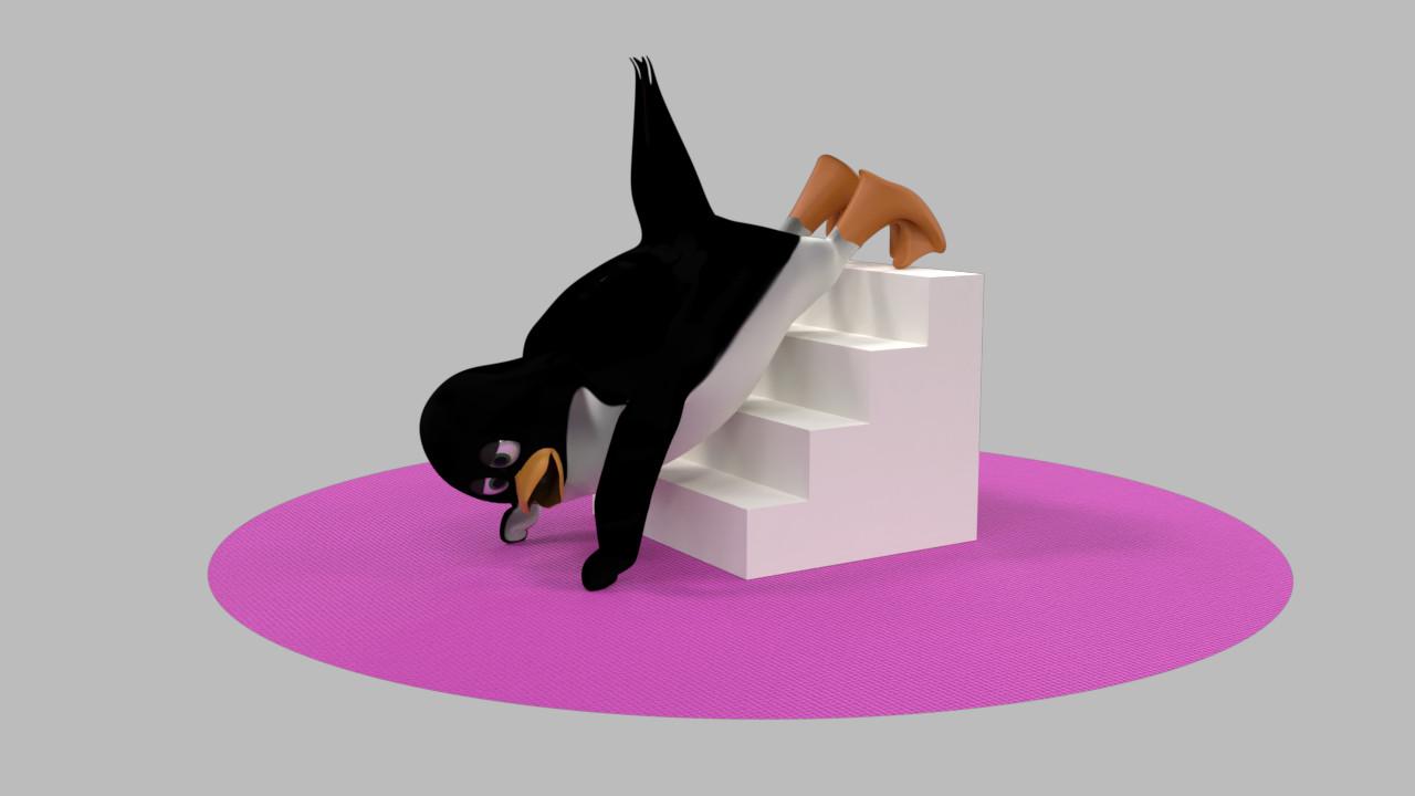 デクラインプッシュアップをするペンギン