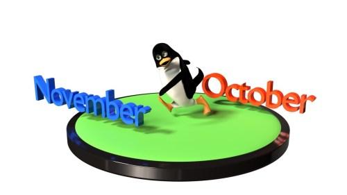 10月から11月へ向かうペンギンのCG