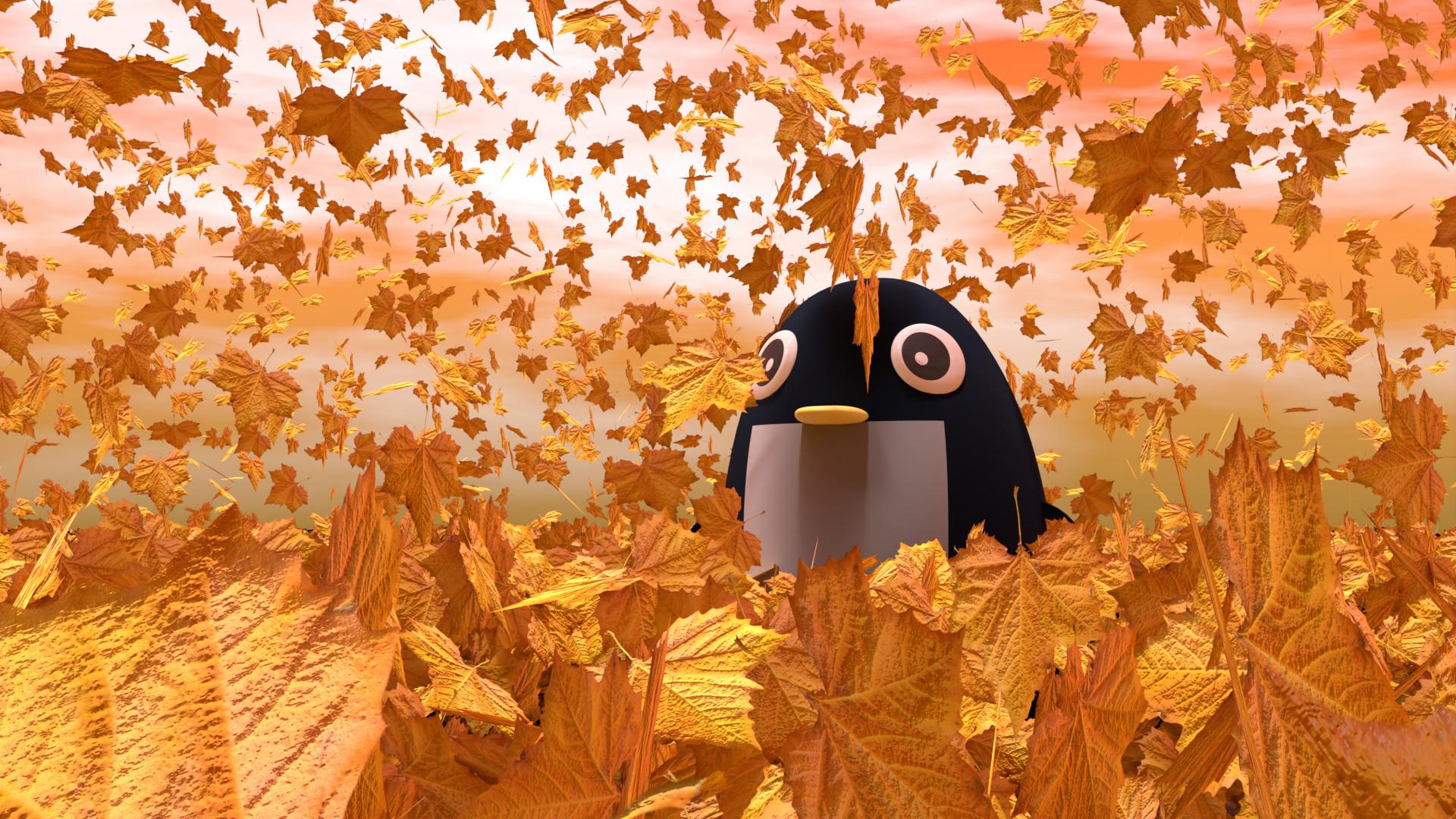 落ち葉に埋もれるペンギン