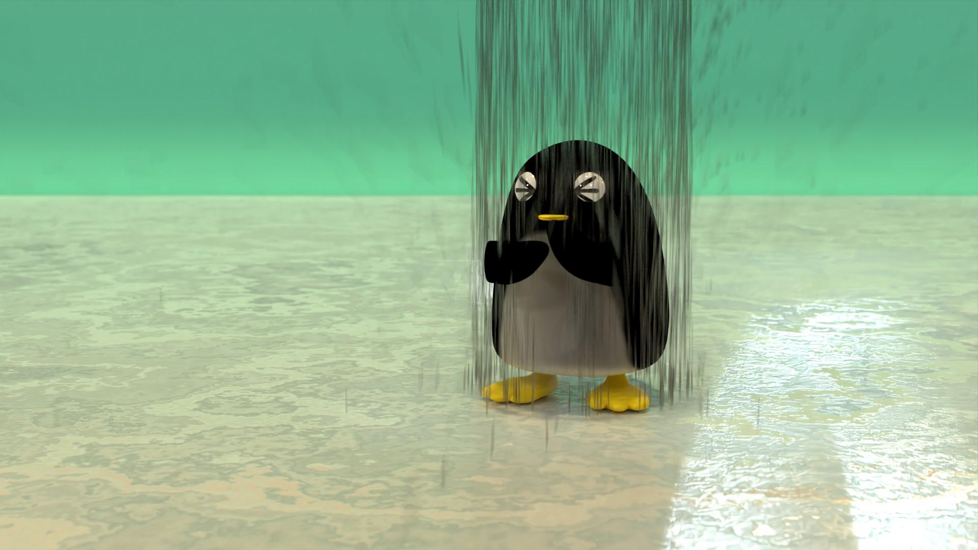 シャワーを浴びるぺんぎんさん