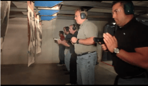 Participants in range drill during concealed carry class