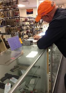 Captain Mark Kelly in Tucson Gun Store