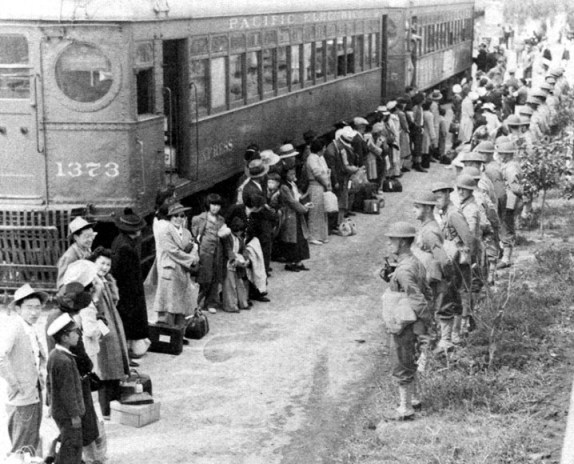 This picture is of Japanese-Americans being interned in World War Two