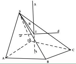 mặt cầu ngoại tiếp - xử dụng hai trục xác định tâm