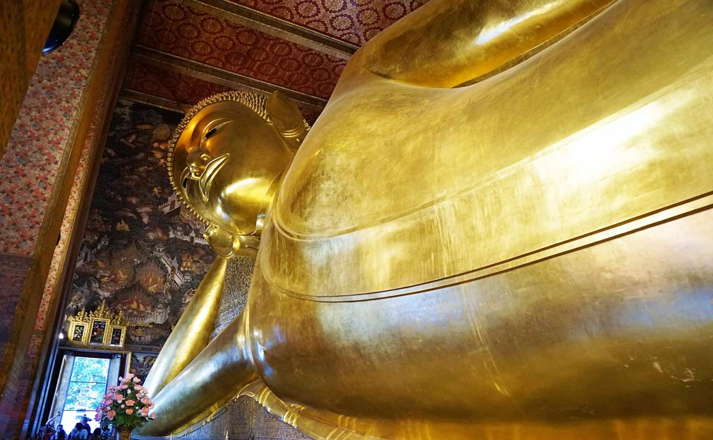 The massive Reclining Buddha in Wat Pho, Bangkok