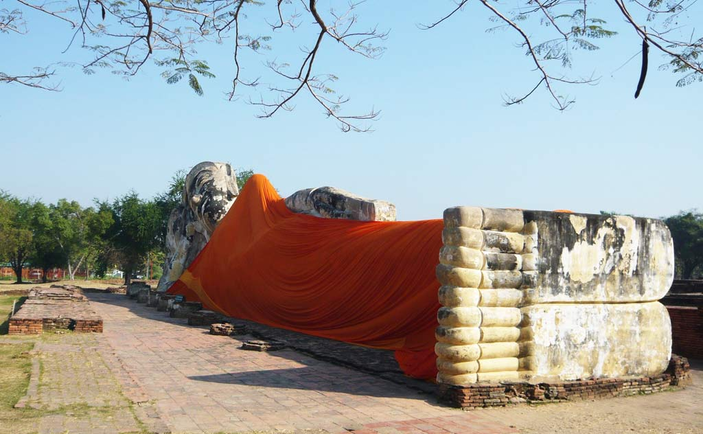 Reclining Buddha Statue at Wat Lokayasutharam in Ayutthaya, Thailand