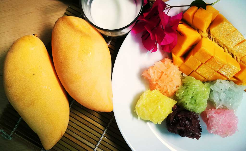 Mango is Thailand's Favourite Fruit. Sticky rice and mango make a popular Thai dessert