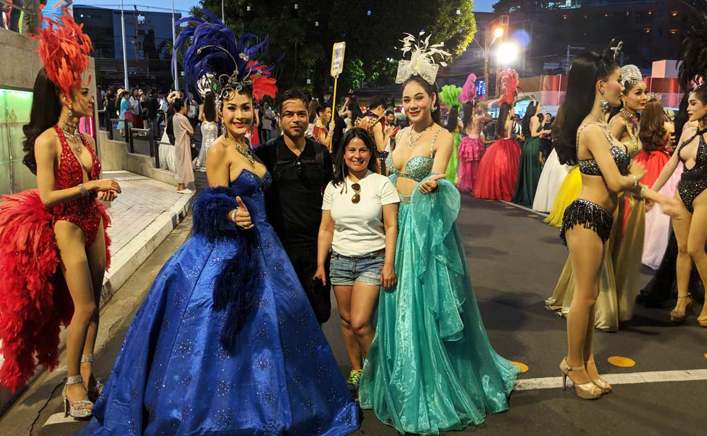 Getting photographed with performers outside the Alcazar Theatre, Pattaya
