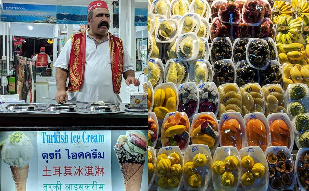 Turkish Ice Cream & Fruits at Pattaya Walking Street