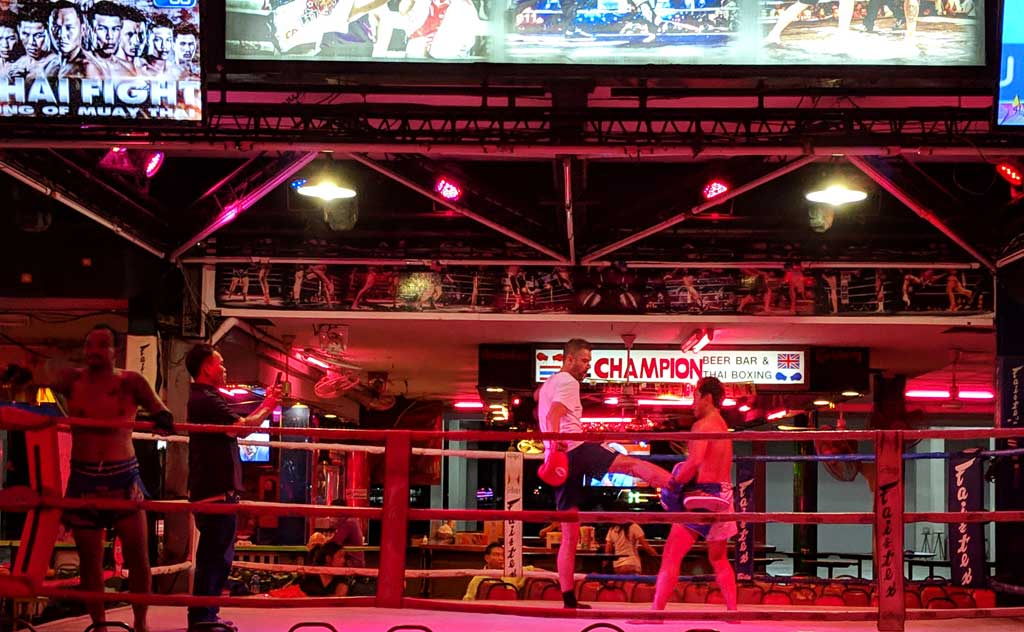 Boxers prepare for a Muay Thai match in Pattaya Walking Street