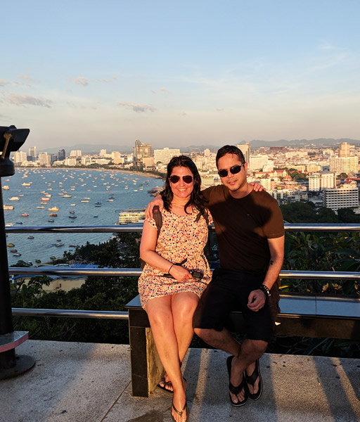 Mona & Paul at Pattaya View Point with Pattaya Bay in background