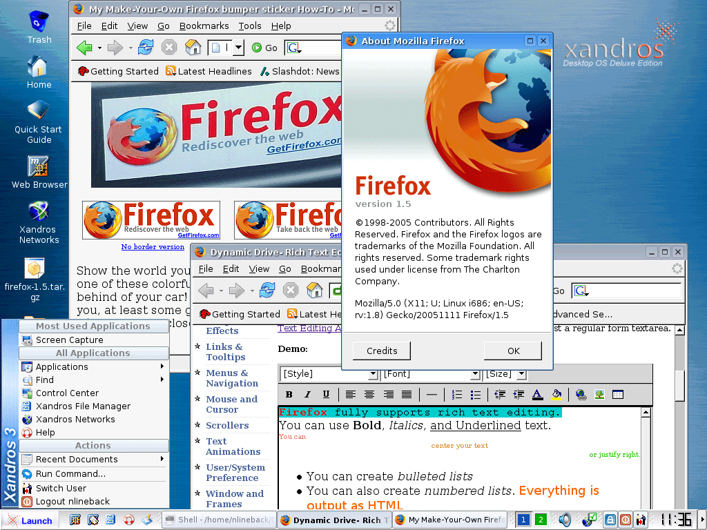 Firefox on Xandros Linux
