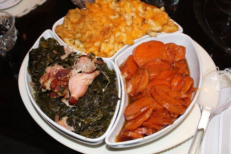 Christmas Dinner: Sweet potatoes, mac & cheese with collard greens, these are a few of my favorite things!