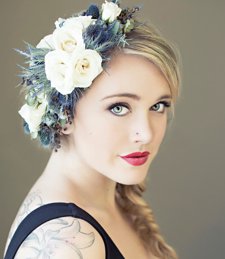 floral hairpiece by vases wild