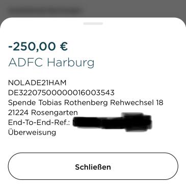 Meine erste Spende über 250,-€ ist raus!