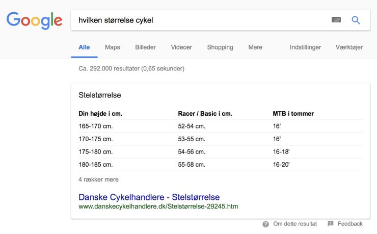 'hvilken størrelse cykel' Voice Search Google resultat