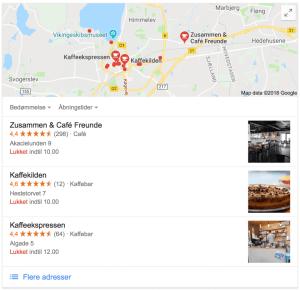 Lokal Voice Search Google-søgning på 'kaffe roskilde' Local 3 Pack