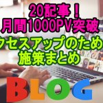20記事で月間1000PV突破!!ブログアクセスの詳細や施策について語る