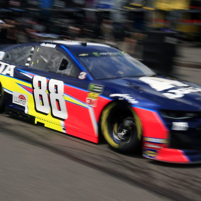 LONG POND, PENNSYLVANIA - MAY 31: Alex Bowman drives the #88 Axalta Chevrolet through the garage area during practice for the Monster Energy NASCAR Cup Series Pocono 400 at Pocono Raceway on May 31, 2019 in Long Pond, Pennsylvania. (Photo by Chris Trotman/Getty Images)