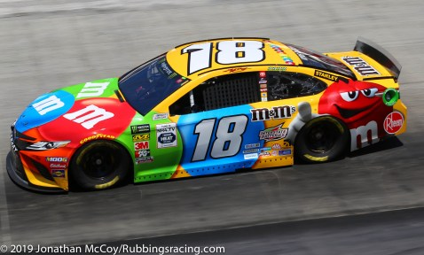 Kyle Busch speeds around Bristol Motor Speedway in his No. 18 M&M's Toyota Camry. Photo Credit: Jonathan McCoy/RubbingsRacing.com