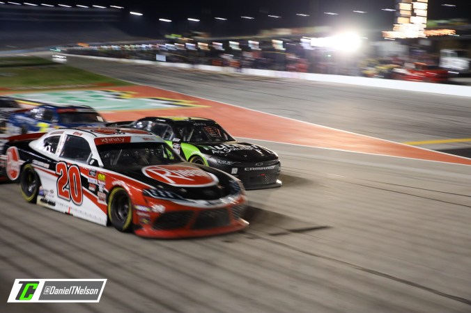 Christopher Bell and Ross Chastain wage war late for the race win. Photo Credit: Daniel Nelson/TobyChristie.com