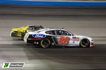 Chase Briscoe takes the high side against John Hunter Nemechek. Photo Credit: Daniel Nelson/TobyChristie.com
