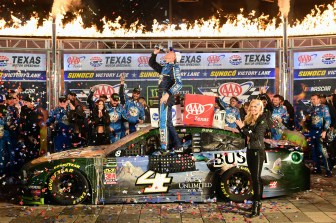 FORT WORTH, TEXAS - NOVEMBER 03: Kevin Harvick, driver of the #4 Busch Beer/Ducks Unlimited Ford, celebrates in Victory Lane after winning the Monster Energy NASCAR Cup Series AAA Texas 500 at Texas Motor Speedway on November 03, 2019 in Fort Worth, Texas. (Photo by Jared C. Tilton/Getty Images)