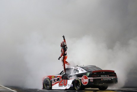 FORT WORTH, TEXAS - NOVEMBER 02: Christopher Bell, driver of the #20 Rheem Toyota, celebrates after winning the NASCAR Xfinity Series O'Reilly Auto Parts 300 at Texas Motor Speedway on November 02, 2019 in Fort Worth, Texas. (Photo by Brian Lawdermilk/Getty Images)