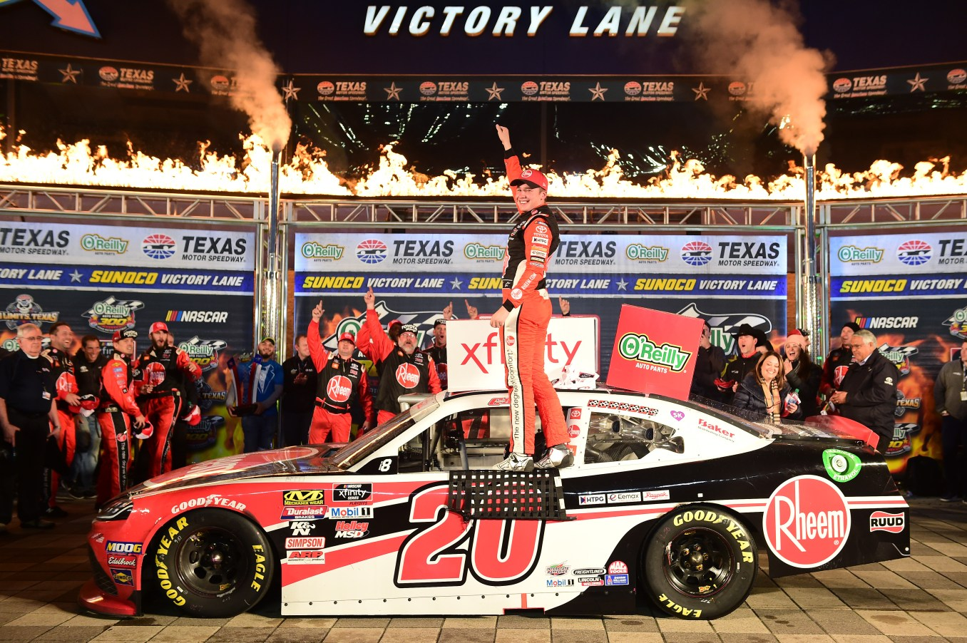 FORT WORTH, TEXAS - NOVEMBER 02: Christopher Bell, driver of the #20 Rheem Toyota, celebrates in Victory Lane after winning the NASCAR Xfinity Series O'Reilly Auto Parts 300 at Texas Motor Speedway on November 02, 2019 in Fort Worth, Texas. (Photo by Jared C. Tilton/Getty Images)