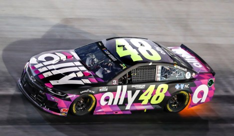 Four time All-Star winner Jimmie Johnson, driver of the #48 Ally Chevrolet Camaro ZL1 1LE, races to a 17th place finish Wednesday, July 15, 2020 during the NASCAR Cup Series All-Star race at Bristol Motor Speedway in Bristol, Tennessee. Drivers raced to a limited number of spectators due to the COVID-19 pandemic. (Photo by Andrew Coppley/HHP for Chevy Racing)