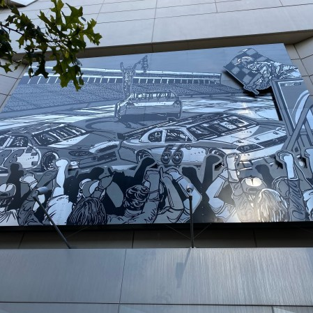 Sam's metal artwork outside the NASCAR Hall (PC : Harris Lue)