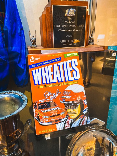 The Dale Earnhardt Wheaties box, on display at the NASCAR Hall of Fame in September 2020 (PC : Harris Lue)