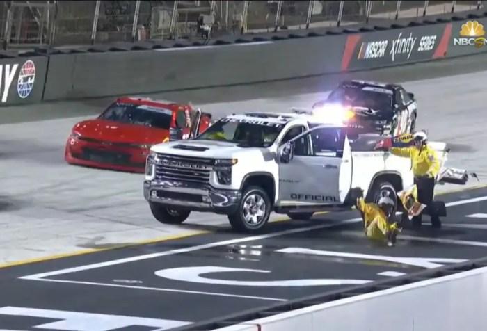 NASCAR Safety Worker Falls