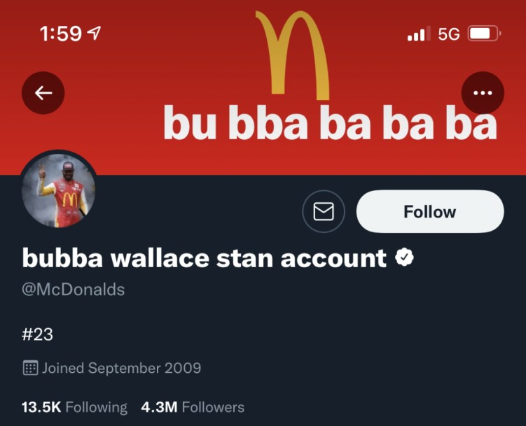 McDonalds Twitter Bubba Wallace