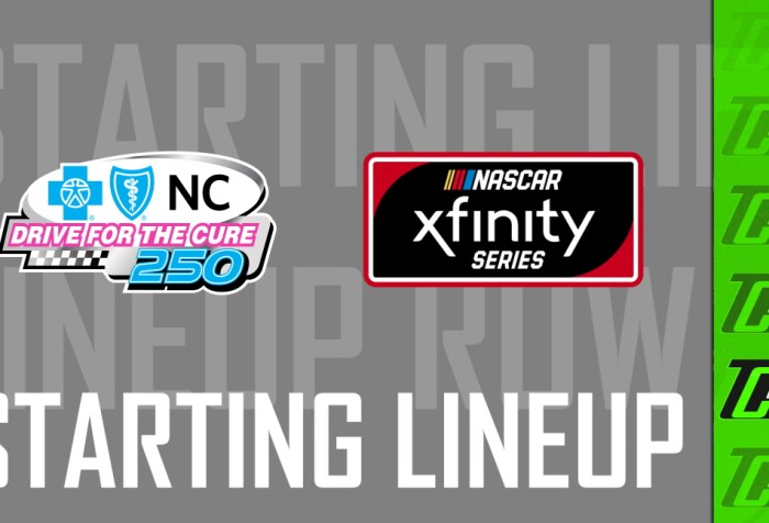 NASCAR Xfinity Roval Lineup