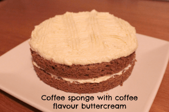 Coffee sponge with coffee flavour icing sugar