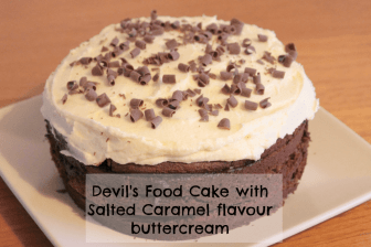 Devil's food cake with Salted Caramel flavour icing sugar buttercream