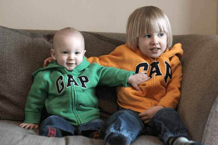 Brothers in matching Gap hoodies