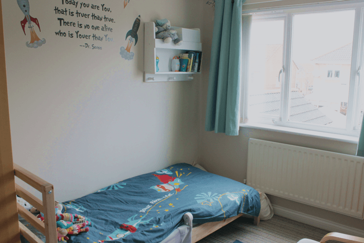 Dr Seuss quote and rocket bedding in Toby's nursery
