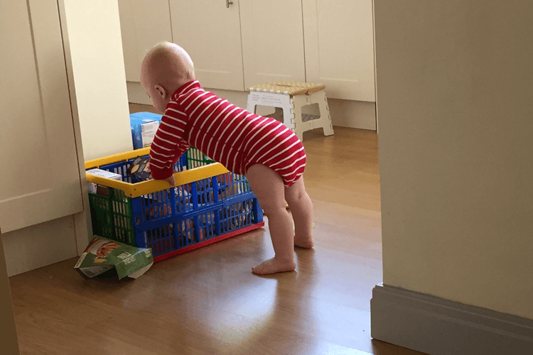 Gabe raiding the snack box