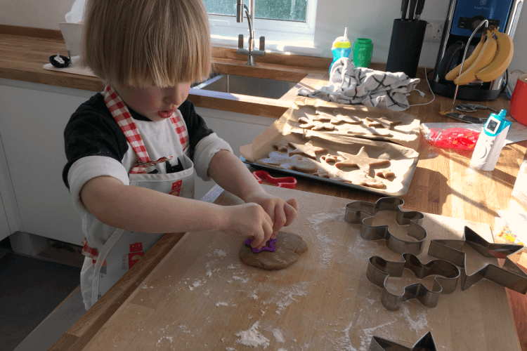 Toby making gingerbread