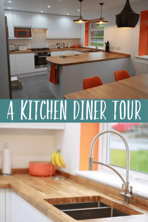 A minimalist white kitchen diner
