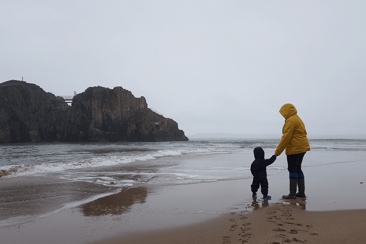 Gabe and me on Tenby beach