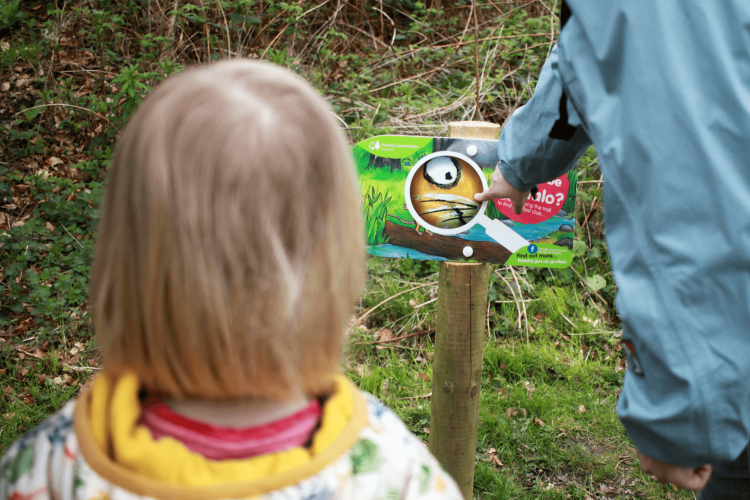 Toby spotting the first clue on the Gruffalo trail