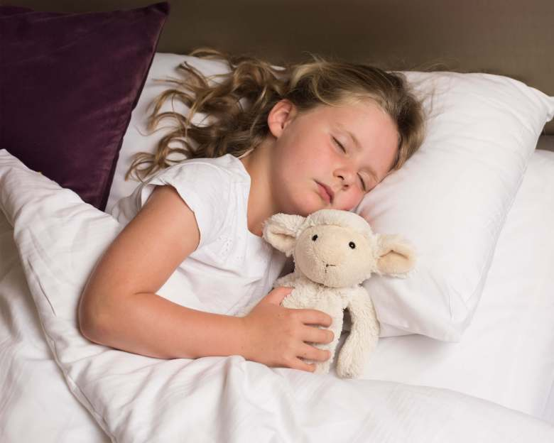 Child sleeping with a favourite teddy