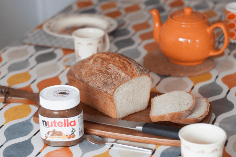 Breakfast with fresh bread and Nutella