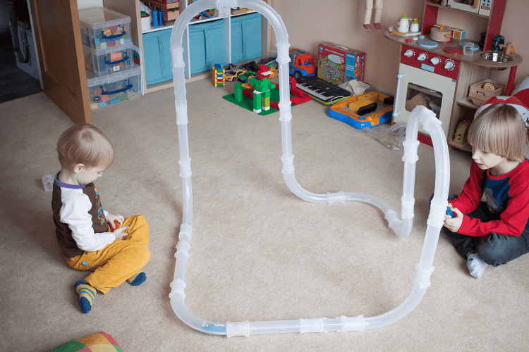 Toby and Gabe playing with Zoom Tubes Car Trax