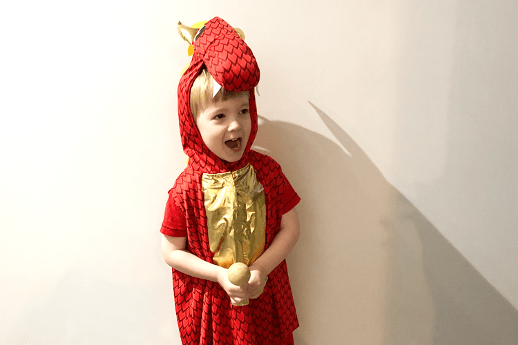 Gabe dressed as a dragon for World Book Day