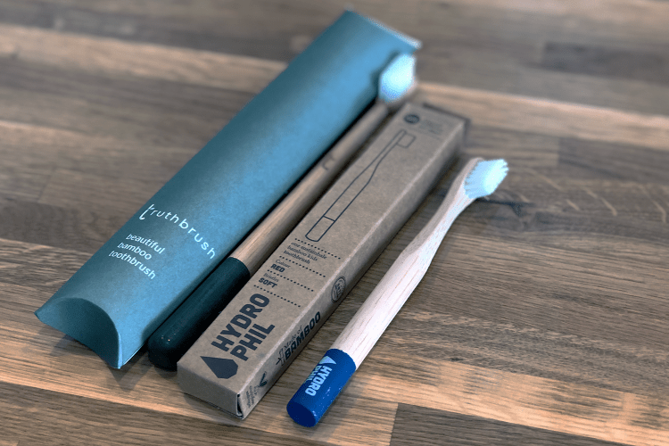 Bamboo toothbrushes from Hydrophil and Truth Brush