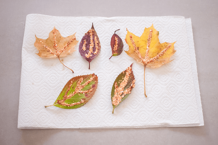 Set the glitter leaves aside to dry